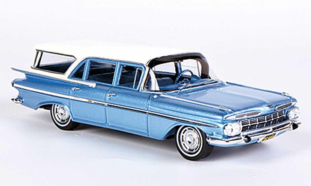 Chevrolet Impala 1959 1/43 Spark Station Wagon grisebleu/blanche Sondermodell MCW L.E. 300 miniature