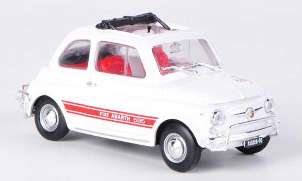Fiat 595 1/43 Brumm Abarth LSS blanche/rouge offenes Faltdach 1965 miniature