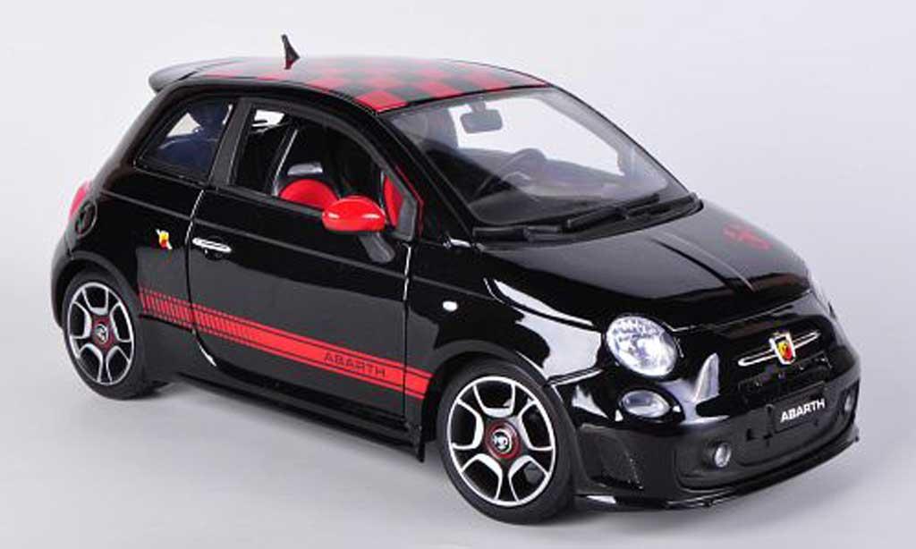 Fiat 500 Abarth 1/18 Burago noire/rouge 2008 miniature