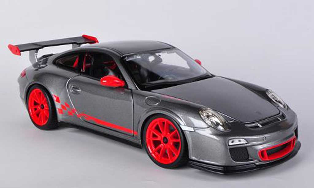 Porsche 997 GT3 RS 1/18 Burago grise/rouge miniature
