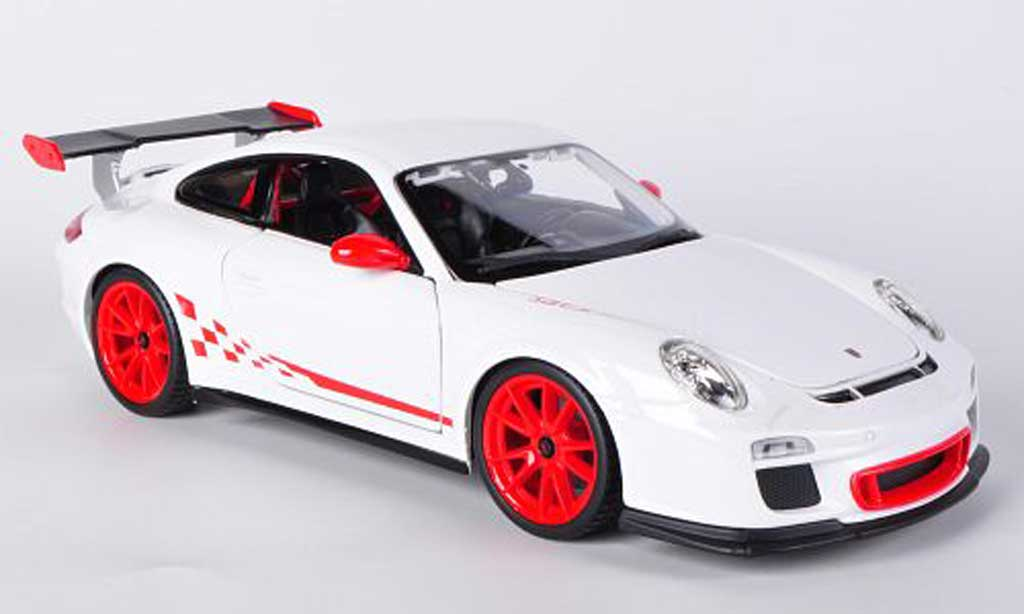 Porsche 997 GT3 RS 1/18 Burago white/red diecast model cars