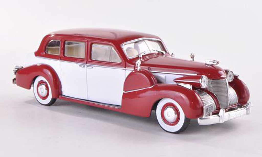 Cadillac Fleetwood 1/43 WhiteBox Series 75 V8 Sedan rojo/blanco 1939 coche miniatura