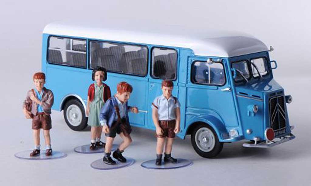 Citroen Type H 1/43 Eligor Schulbus bleu/blanche mit 4 Figuren miniature