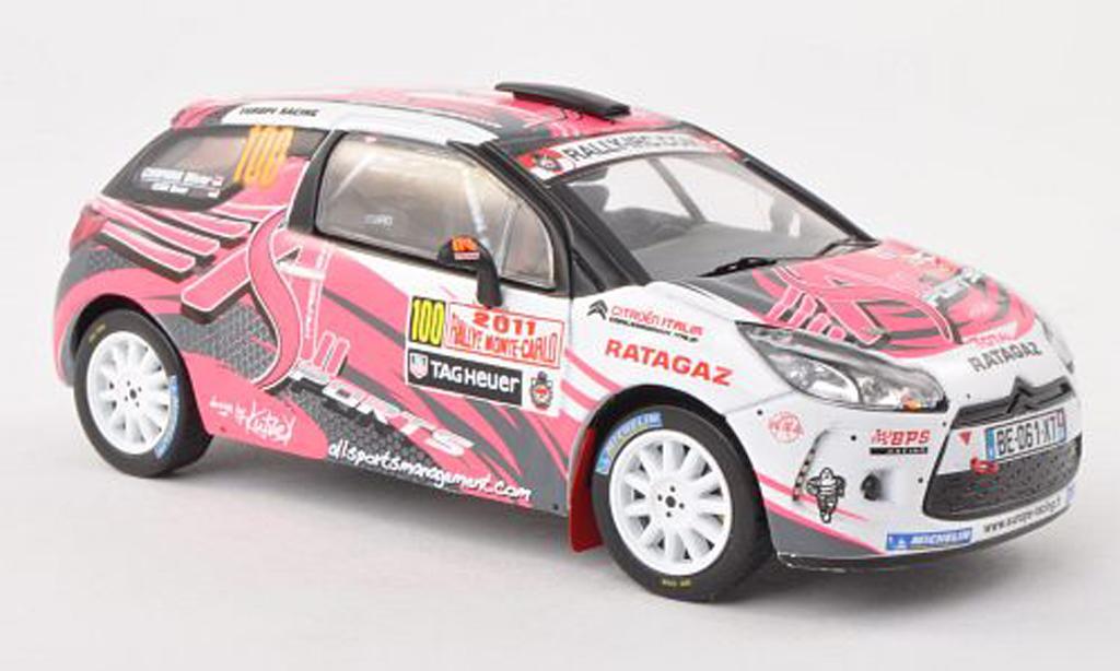 DS Automobiles DS3 R3 1/43 IXO R3 No.100 Europe Racing Rally Monte Carlo 2011 D.Elena/O.Campana miniature