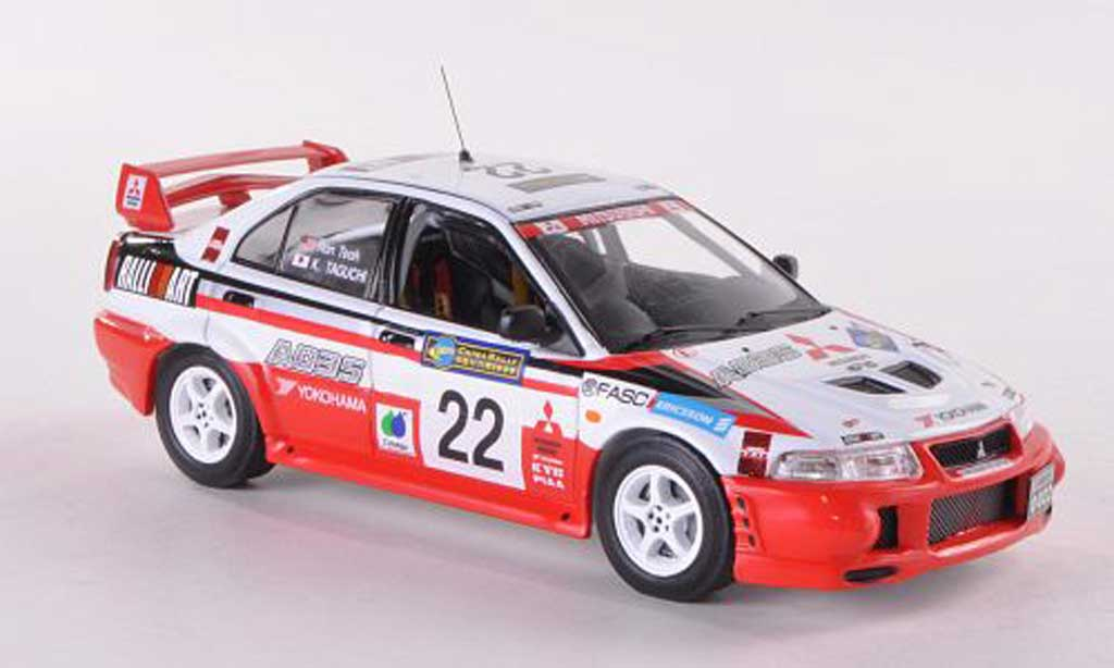 Mitsubishi Lancer Evolution VI 1/43 IXO No.22 Ralliart Rally China 1999 K.Taguchi/R.Teoh miniature