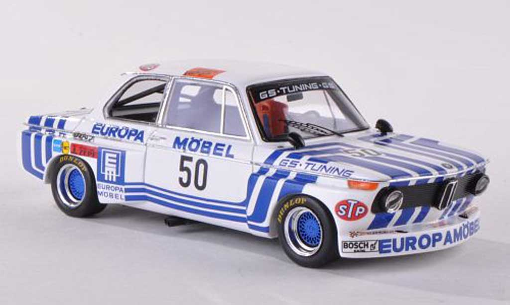 Bmw 2002 Tii 1/43 Spark No.50 Europe Meubles DRM Hockenheim  1974 J.Obermoser  miniature