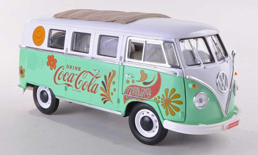 Volkswagen T1 1/18 Motor City Classics Samba Coca-Cola blanche/grun 1962 miniature
