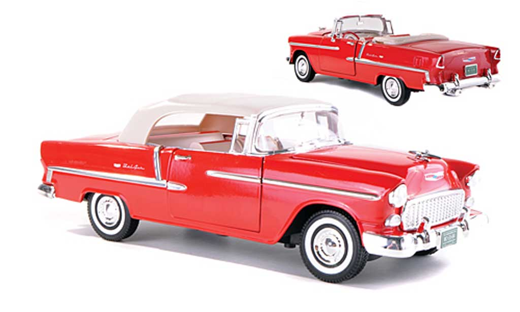 Chevrolet Bel Air 1955 1/18 Motormax Convertible rouge miniature