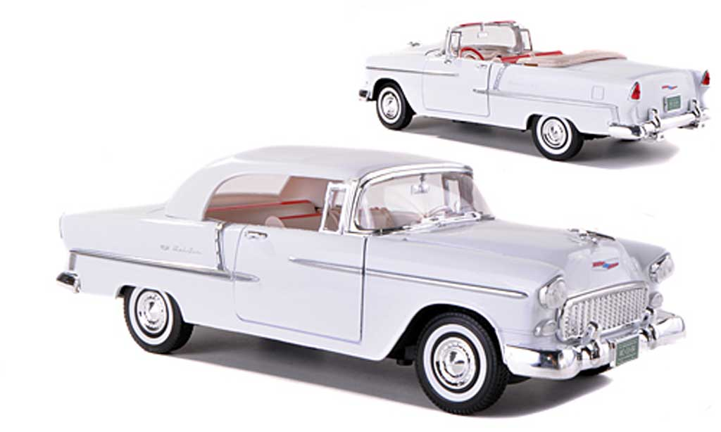 Chevrolet Bel Air 1955 1/18 Motormax Convertible blanche miniature
