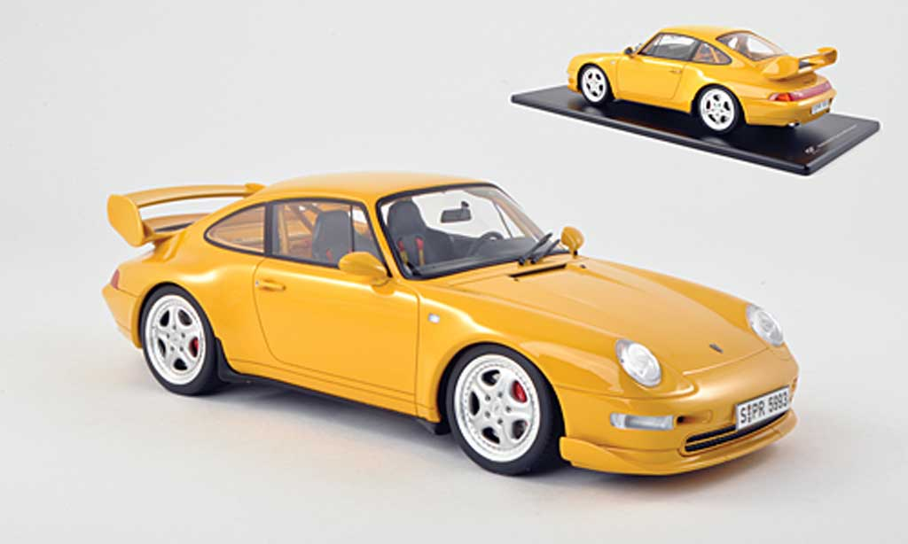 Porsche 993 RS 1/18 GT Spirit Carrera Clubsport amarillo coche miniatura