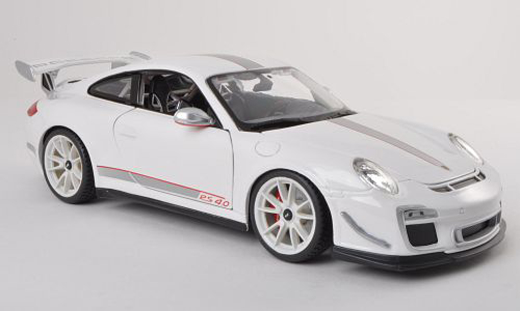 Porsche 997 GT3 RS 1/18 Burago 2011 4.0 white/grey diecast model cars