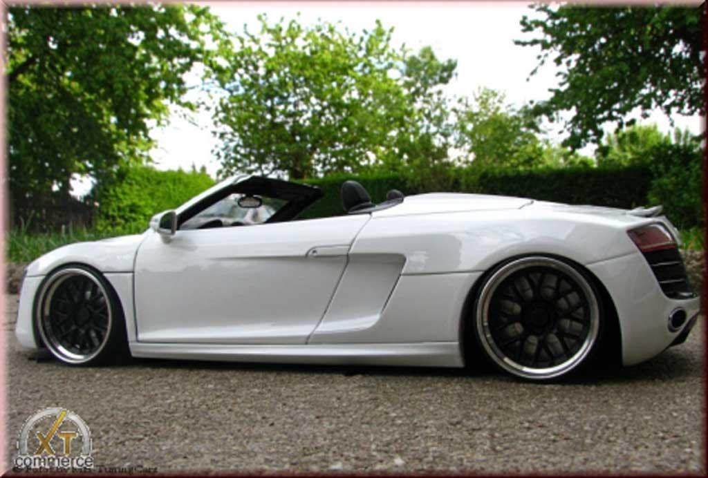 Audi R8 Spyder 1/18 Kyosho blanche V10 jantes 21 pouces rabaissee miniature