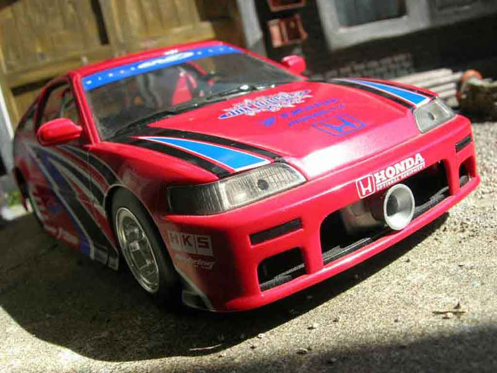 Honda CRX 1/18 Hot Wheels drag race rouge miniature