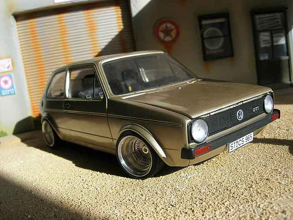 Volkswagen Golf 1 GTI 1/18 Solido german look swap moteur audi tt jantes bords larges miniature