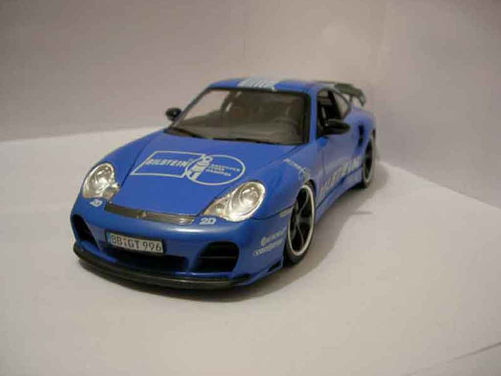 Porsche 996 Turbo 1/18 Hotworks techart bleu diecast