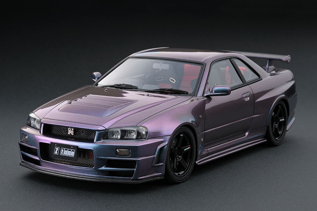 Nissan Skyline R34 1/18 Ignition Model Nismo GT-R Z-tune Midnight Purple III IG0009 miniature