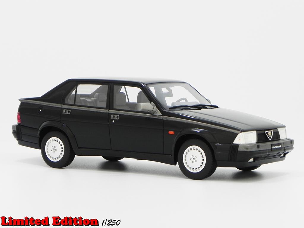 Alfa Romeo 75 1/18 Laudoracing Models 1.8 TURBO Q.V. LM087A nero miniatura
