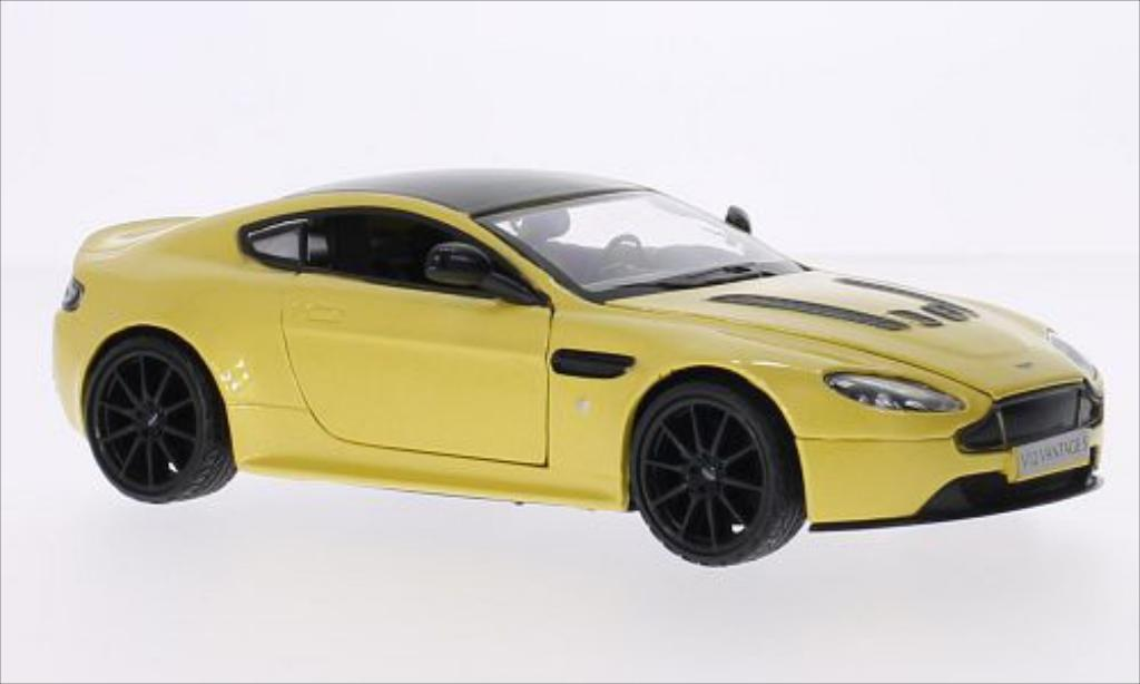Aston Martin V12 Vantage 1/24 Motormax S metallic-jaune/noire miniature