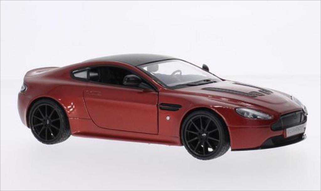 Aston Martin V12 Vantage 1/24 Motormax S metallise rouge/noire miniature