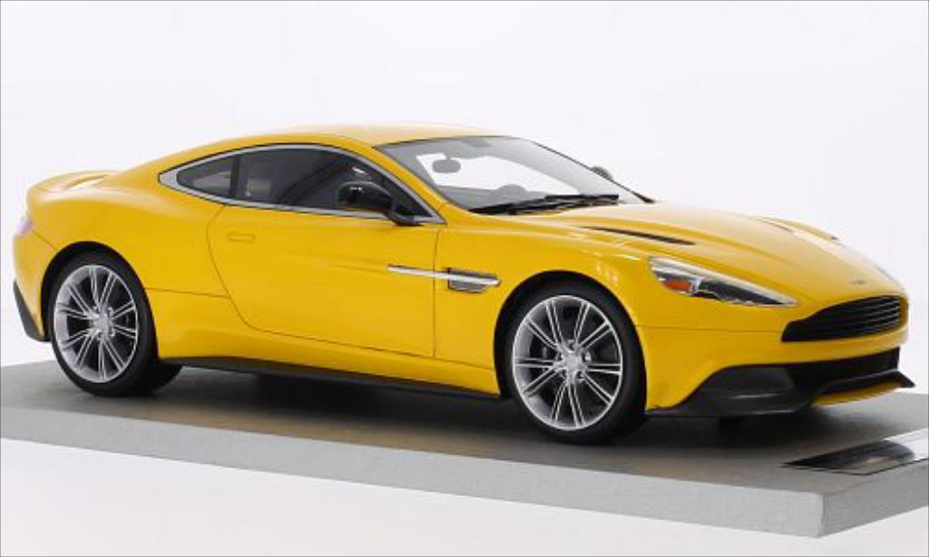 Aston Martin Vanquish 1/18 Tecnomodel Coupe metallise jaune miniature