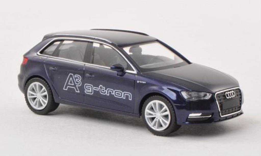 Audi A3 1/87 Herpa Sportback g-tron bleu