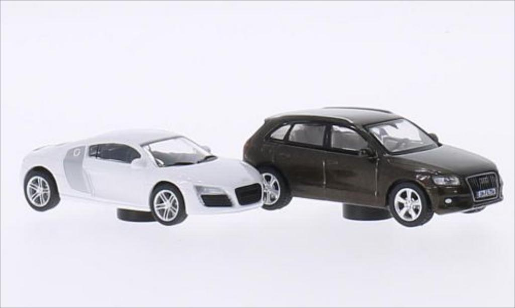 Audi R8 1/87 Schuco blanche/grise + Q5 marron miniature