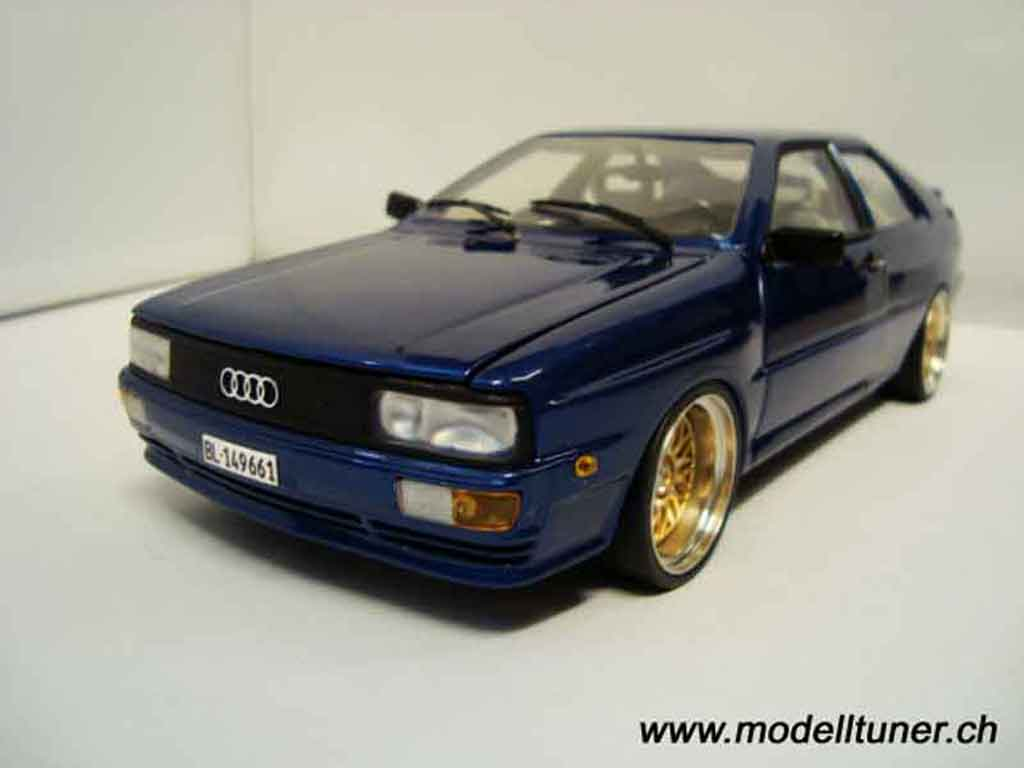 Audi Quattro 1/18 Sun Star bleu jantes bbs bords larges miniature