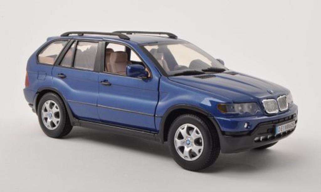 Bmw X5 E53 1/18 Motormax bleu miniature