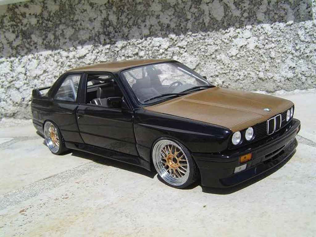 Bmw M3 E30 1/18 Minichamps black swap moteur e36 jantes bbs capot kevlar diecast