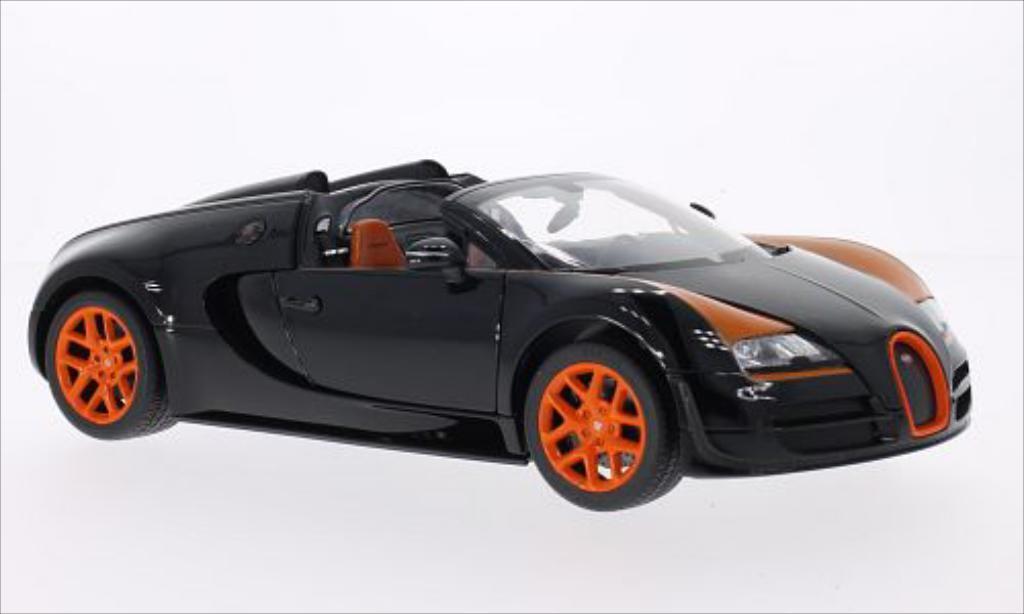 Bugatti Veyron 16.4 1/18 Rastar Grand Sport Vitesse noire/orange miniature