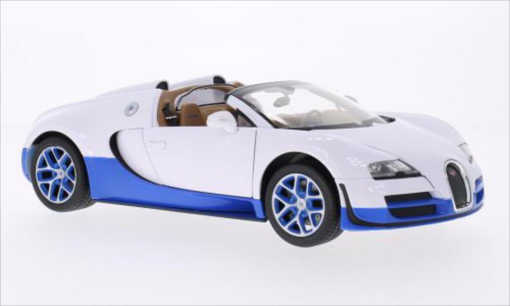 Bugatti Veyron 16.4 1/18 Rastar Grand Sport Vitesse blanche/bleu miniature