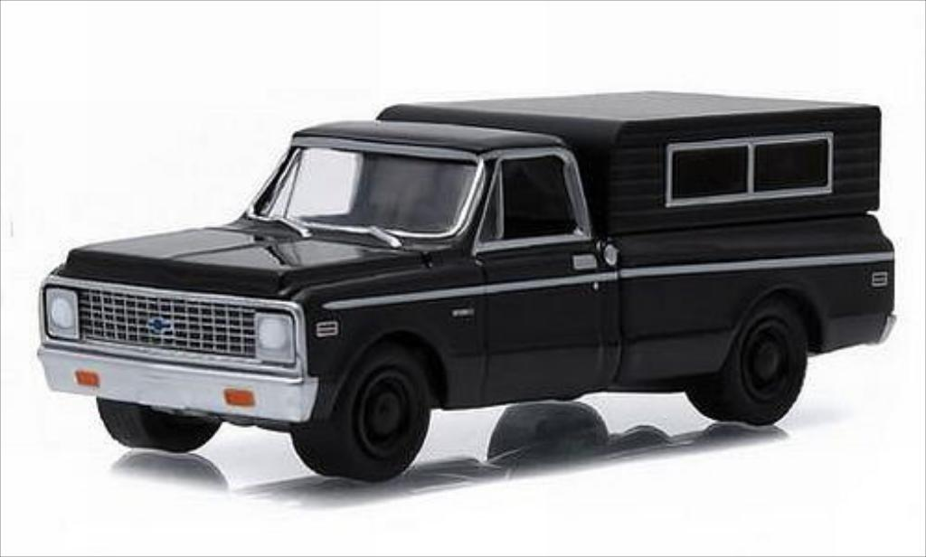 Chevrolet C-10 1/64 Greenlight Camper black/matt-black 1972 diecast model cars