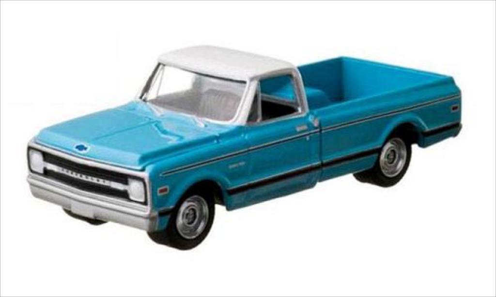 Chevrolet C-10 1/64 Greenlight bleu/blanche 1970 miniature