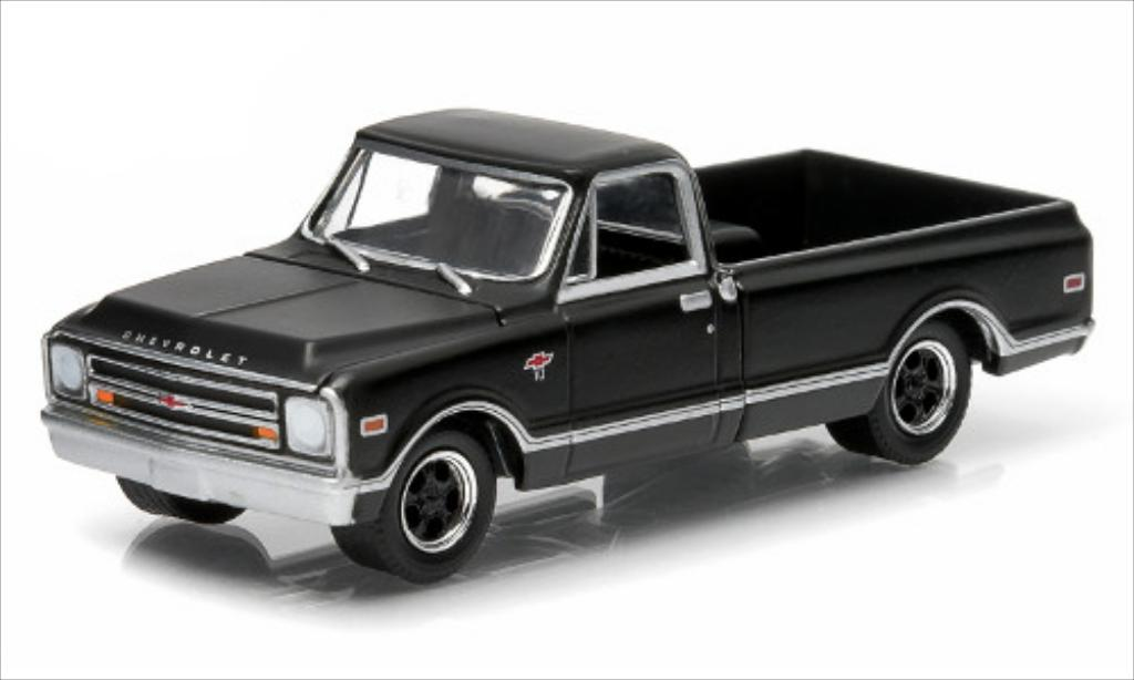 Chevrolet C-10 1/64 Greenlight matt-black 1968 diecast model cars