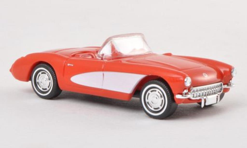 Chevrolet Corvette C1 1/87 Busch C1 Convertible red-orange/white 1956 diecast