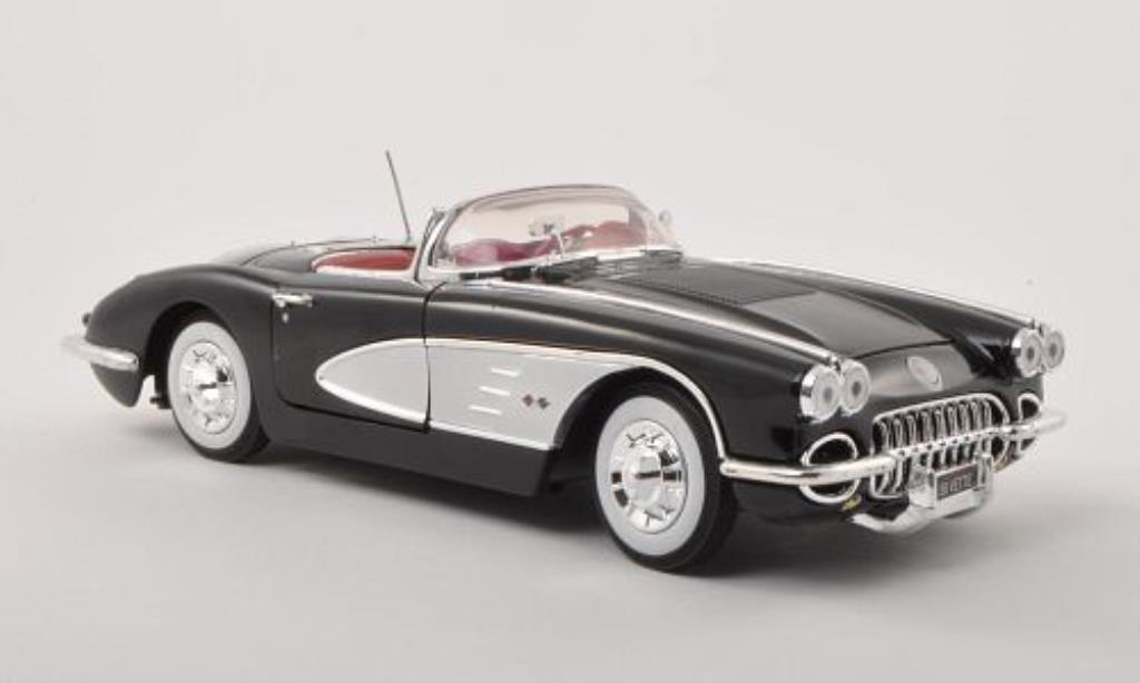 Chevrolet Corvette C1 1/18 Motormax black/grey 1958 diecast model cars
