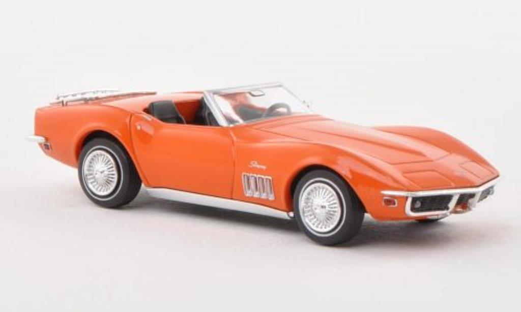 Chevrolet Corvette C3 1/87 Brekina C3 Cabrio orange mit Gepacktrager diecast model cars