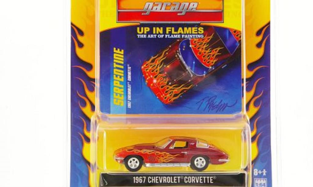 Chevrolet Corvette C2 1/64 Greenlight rouge mit Flammendekor 1967 miniature