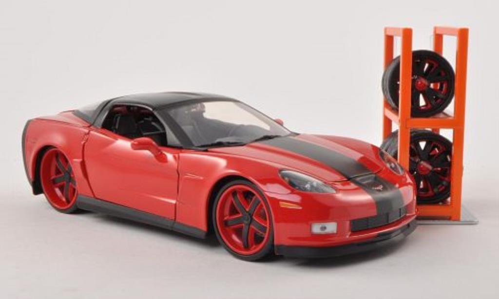 Chevrolet Corvette C6 1/24 Jada Toys Tuning rouge/noire 2006 miniature