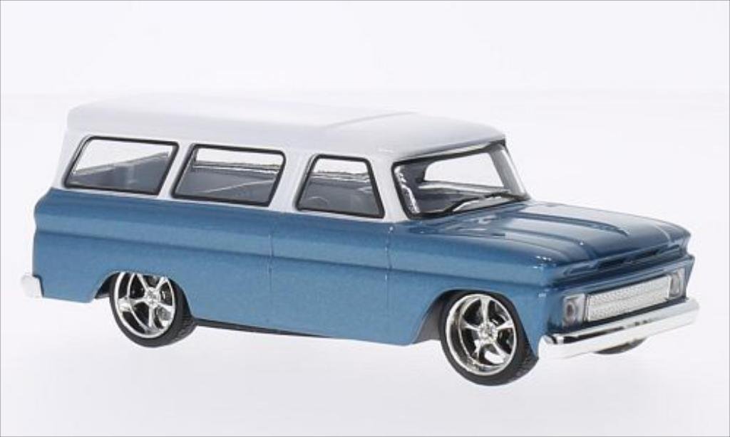 Chevrolet Suburban 1/43 Greenlight Tuning metallise bleu/blanche 1966 miniature