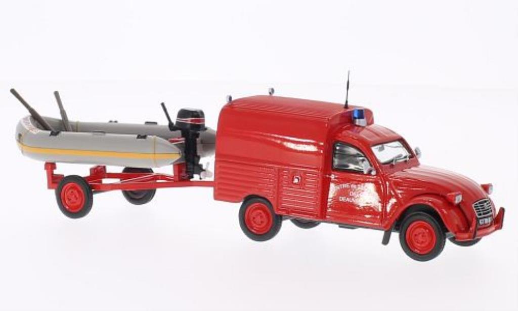 Citroen 2CV 1/43 Eligor AKS 400 Centre de Secours de Deauville Feuerwehr (F) mit Zodiac auf Anhanger miniature