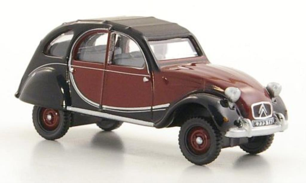 Citroen 2CV 1/76 Oxford Charleston rouge/noire RHD 1963 miniature