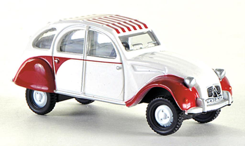 Citroen 2CV 1/76 Oxford Dolly blanche/rouge RHD miniature