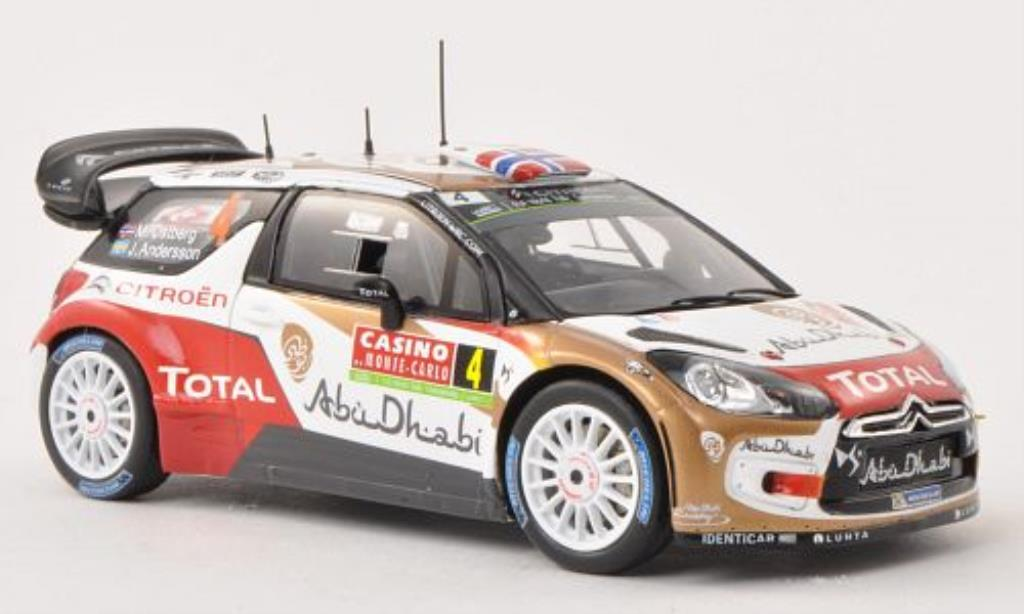 DS Automobiles DS3 1/43 Spark No.4 Citroen Total Abu Dhabi WRT Rally Monte Carlo 2014 /J.Andersson miniature
