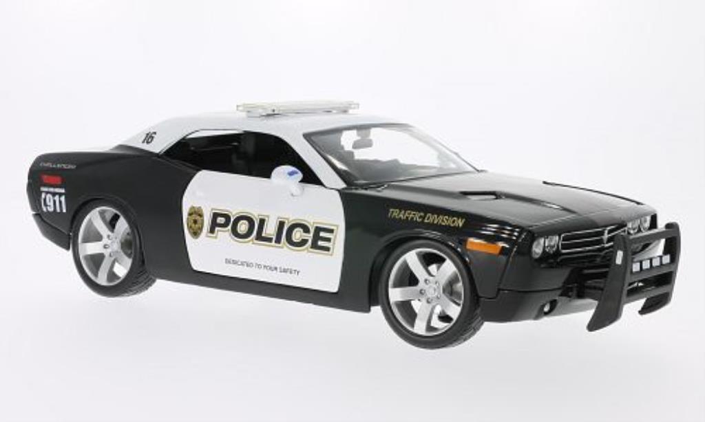 Dodge Challenger Concept 1/18 Maisto Police noire/blanche 2005 miniature