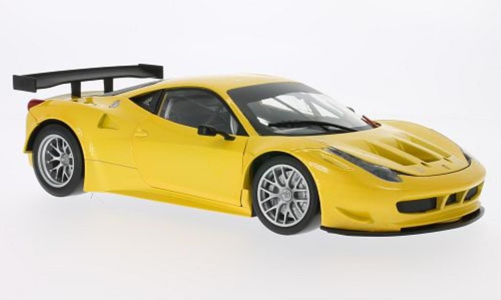 Ferrari 458 Italia 1/18 Hot Wheels GT2 yellow diecast