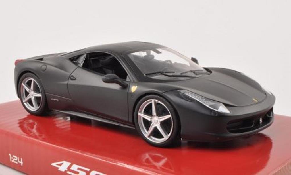 Ferrari 458 Italia 1/24 Hot Wheels Italia matt-black diecast model cars