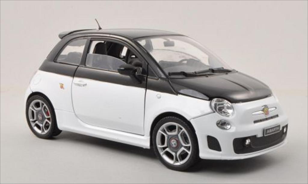 Fiat 500 Abarth 1/18 Motormax white/black diecast model cars