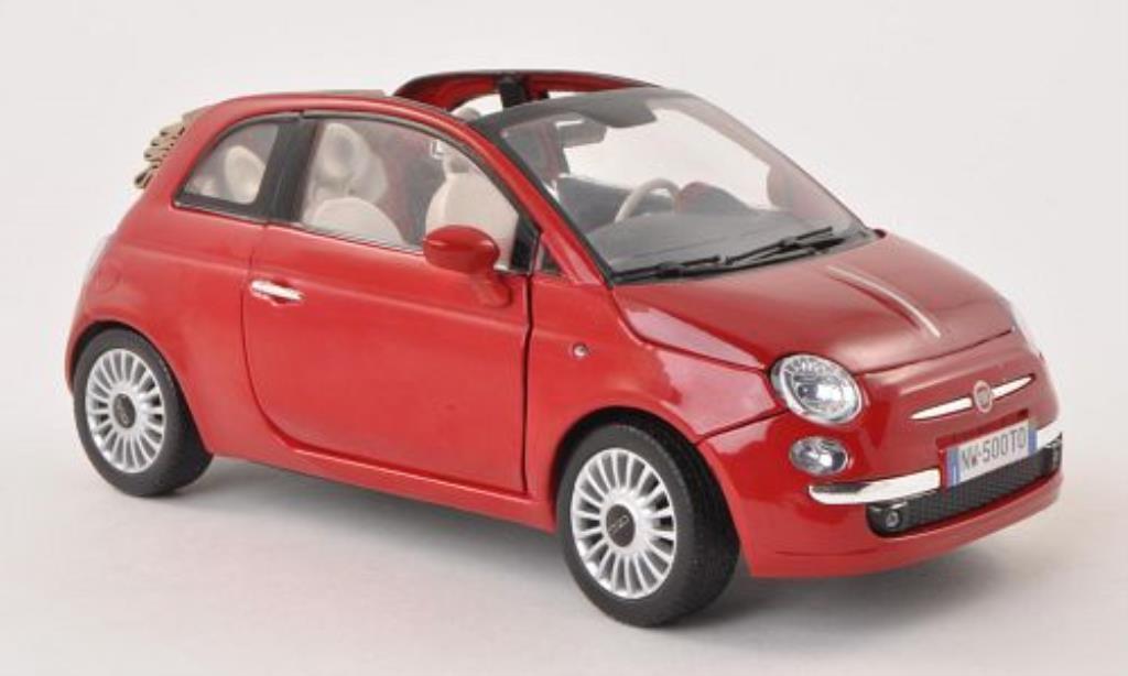 Fiat 500 1/18 Motormax Cabrio red diecast