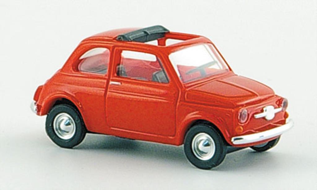Fiat 500 F 1/87 Busch rot mit geoffnetem Faltdach 1965 modellautos